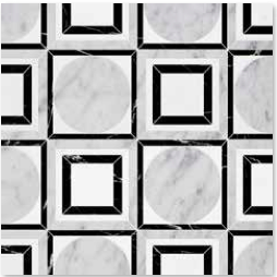 YNR90213 CICERO: White Carrara Honed, Black Polished, Thassos White Polished