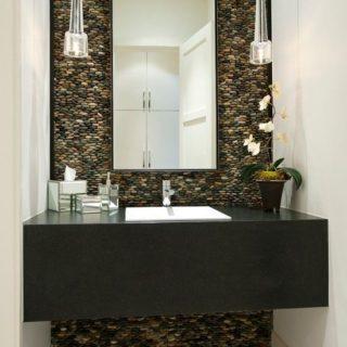 pebble wall bathroom standing pebble