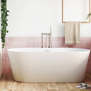 Joy - Velvet Pink 4x10 bathroom install 300x300